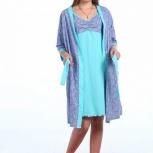 Новый комплект: ночная сорочка + халат. Ткань кулирка. 42 размер., Тюмень