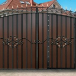 Ворота распашные с элементами ковки, Тюмень