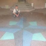 Пол бетонно-мозаичный в Тюмени, пол из мраморной крошки, стяжка, налив, Тюмень