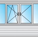 Балкон Пластиковые Двустворчатые профиль 58мм стеклопакет 32мм, Тюмень